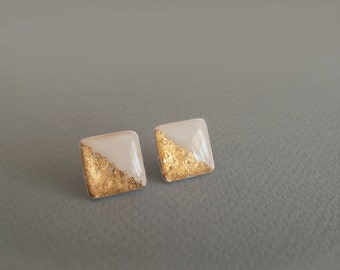 Ivory Gold Square Stud Earrings - Hypoallergenic Surgical Steel Post