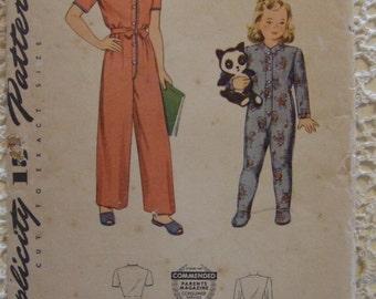 Simplicity Pattern no. 4545 Size 10 For Girls Pajamas Sleepwear