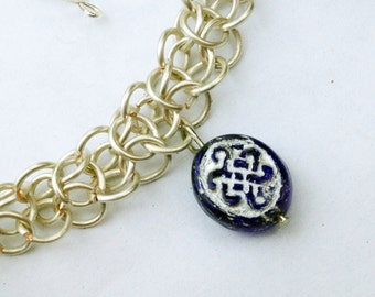 Glass Celtic Knot Fairymail Elfweave Bracelet