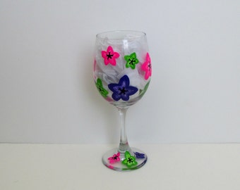 Wine glass, Floral print painted glass hawiian glass luau glass