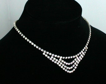 Retro Vintage Elegant Square Rhinestone Crystal Choker Necklace