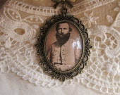 "Confederate General James Ewell Brown ""JEB"" Stuart, CSA, Southern Hero, Cameo Pendant - SweetEmilysVintage"