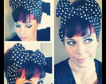 Black and White Polka Dot Headwrap Bandana Hair Bow Style 1940s 1950s Vintage Style - Rockabilly - Pin Up - For Women, Teens