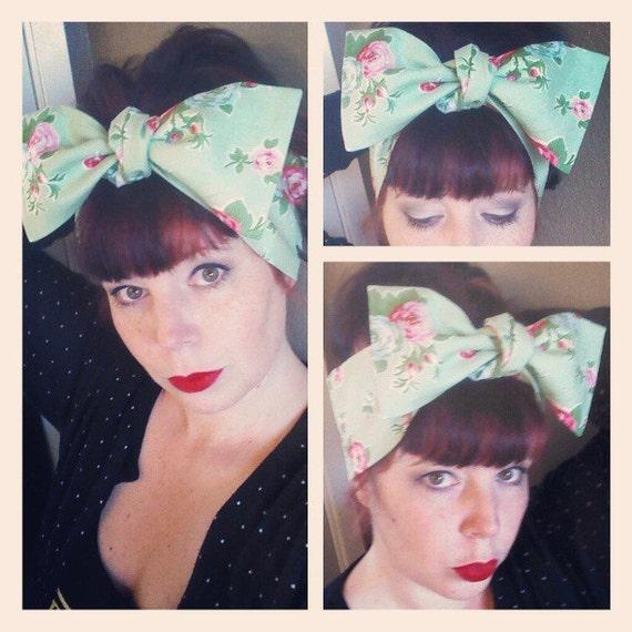 Items Similar To Light Green Floral Headwrap Bandana Hair
