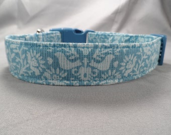 Blue Folk Art Dog Collar