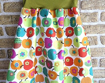 Colored cotton skirt with apples, fresh, knee length, flared, midi skirt