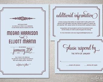 "Floral ""Megan"" Wedding Invitation Suite - Rustic Retro Folk Inspired Invitations - Personalized DIY Digital Printable or Printed Invite"