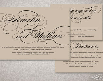 "Script Calligraphy ""Amelia"" Wedding Invitations Suite - Kraft Paper Romantic Rustic Invitation - Custom Digital Printable or Printed Invite"