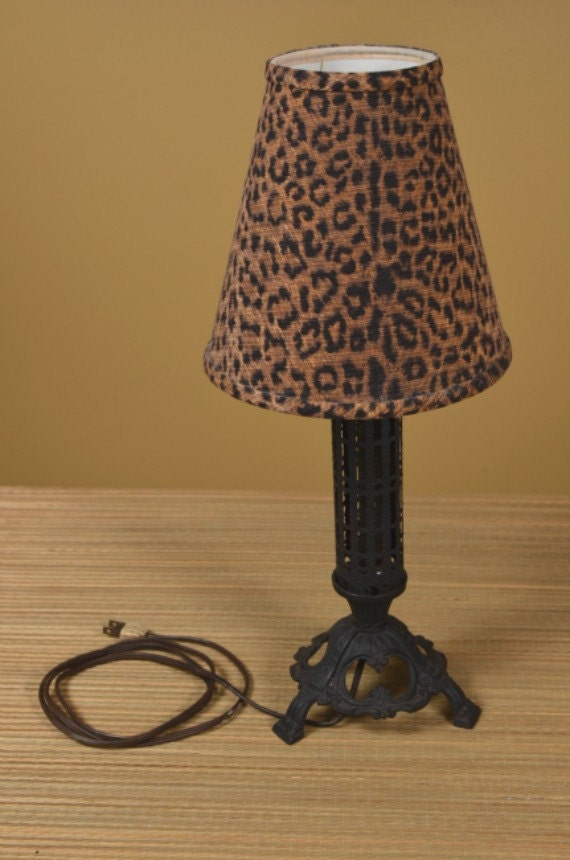 1940's Cast Iron Vintage Boudoir Lamp and Leopard Shade
