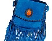 Ibiza Fringe Boho Cross Body Bag, Suede Fringe hippie bag, suede fringe tassel bag