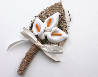 wedding boutonniere, Groom buttonhole, Groomsmen corsage, Natural Eco Friendly