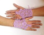 Lavender  gloves lilac bridal gloves light purple fingerless lace gloves french lace  free ship 0017