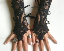 Black or ivory lace gloves french lace  bridal  lace wedding fingerless gothic gloves black camarilla  burlesque  vampire glove guantes 250