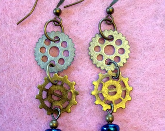 "Funky lightweight dangle ""gear"" earrings"