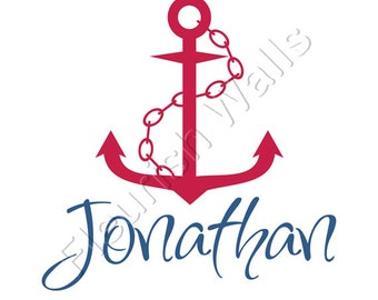 Baby Boy Nursery Wall Decal - Personalized Baby Name Decal - Nautical Nursery Decor - Boys Room Wall Decor - Vinyl Baby Nursery Decal BN002