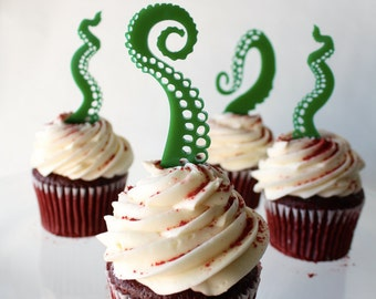 12 Tentacle Cupcake Toppers (Acrylic)