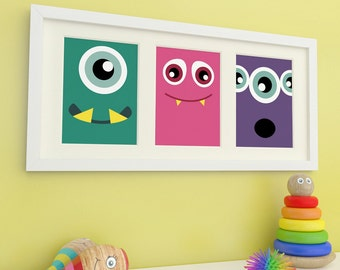 Monster Art, Monster Prints, Childrens Wall Art, Childrens Room Decor, Kids Art
