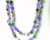 Long Double Strand Gemstone Necklace, Jewel Tones Multicolor, Natural Semiprecious Stones, Sparkling, Special Occasions