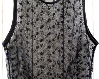 """Embroidered black net top. Bust 37"""""""