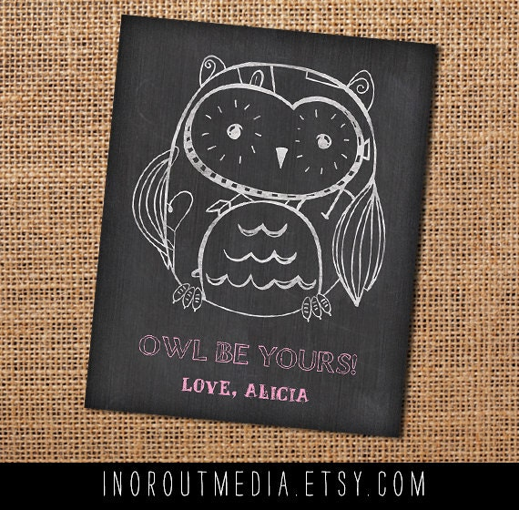 School Valentines - Owl Chalk Kid Valentines to pass out - 25 4x5 cards for the whole class, Chalkboard Valentine Card