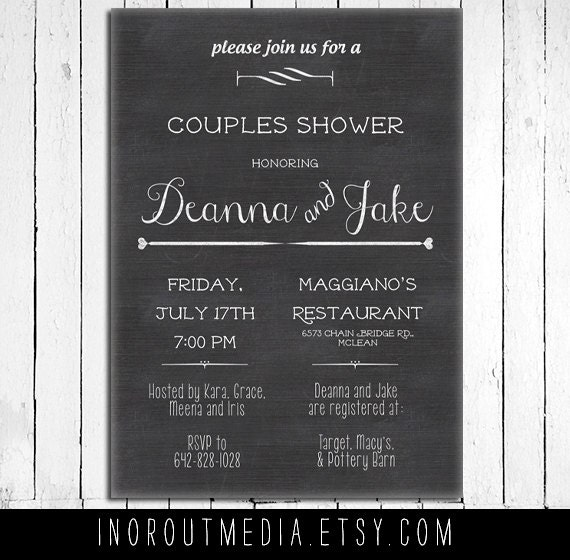 Rustic Wedding Shower Invite, Couples Shower invitation - The Stacked - Chalkboard, rustic, bride and groom, Rustic, Bridal Shower invite