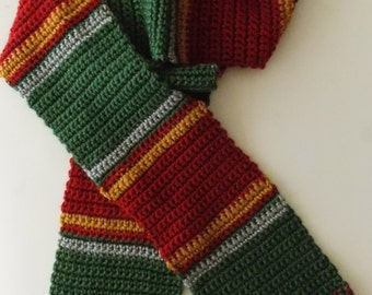 Green and Red Striped Scarf (Made to Order)