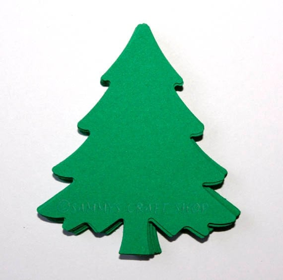Christmas Cutout Decorations: 30 Green Christmas Tree Die Cuts, Christmas Party