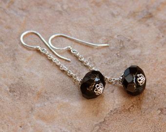 Black Onyx Earrings, Dangle Earrings Sterling Silver
