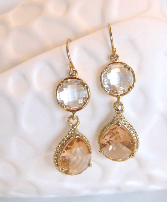 Items similar to gold peach earrings gold earrings blush for Jewelry for champagne wedding dress