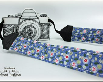 DSLR Camera strap, millefleur on blue