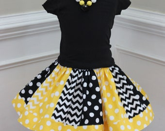 Girls skirt. Yellow and black bee skirt for toddler and baby girl. Size 2t 3t 4t 5t 6 7 8 10 12 months