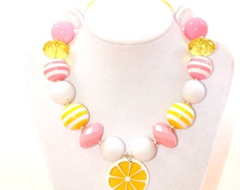 pink lemonade girls chunky bubblegum bead necklace lemon necklace lemon slice pendant necklace chunky bead necklace summer birthday girl