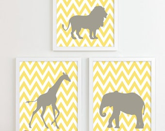 Yellow Gray Grey Chevron Jungle Nursery Art Print Gender Neutral Yellow Nursery Decor Safari Animal Nursery Wall Art Zoo Giraffe Elephant