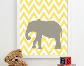 Safari Nursery Art, Chevron Elephant Nursery Print Animal Nursery Wall Art, Jungle Baby Nursery Decor Kids Art For Children