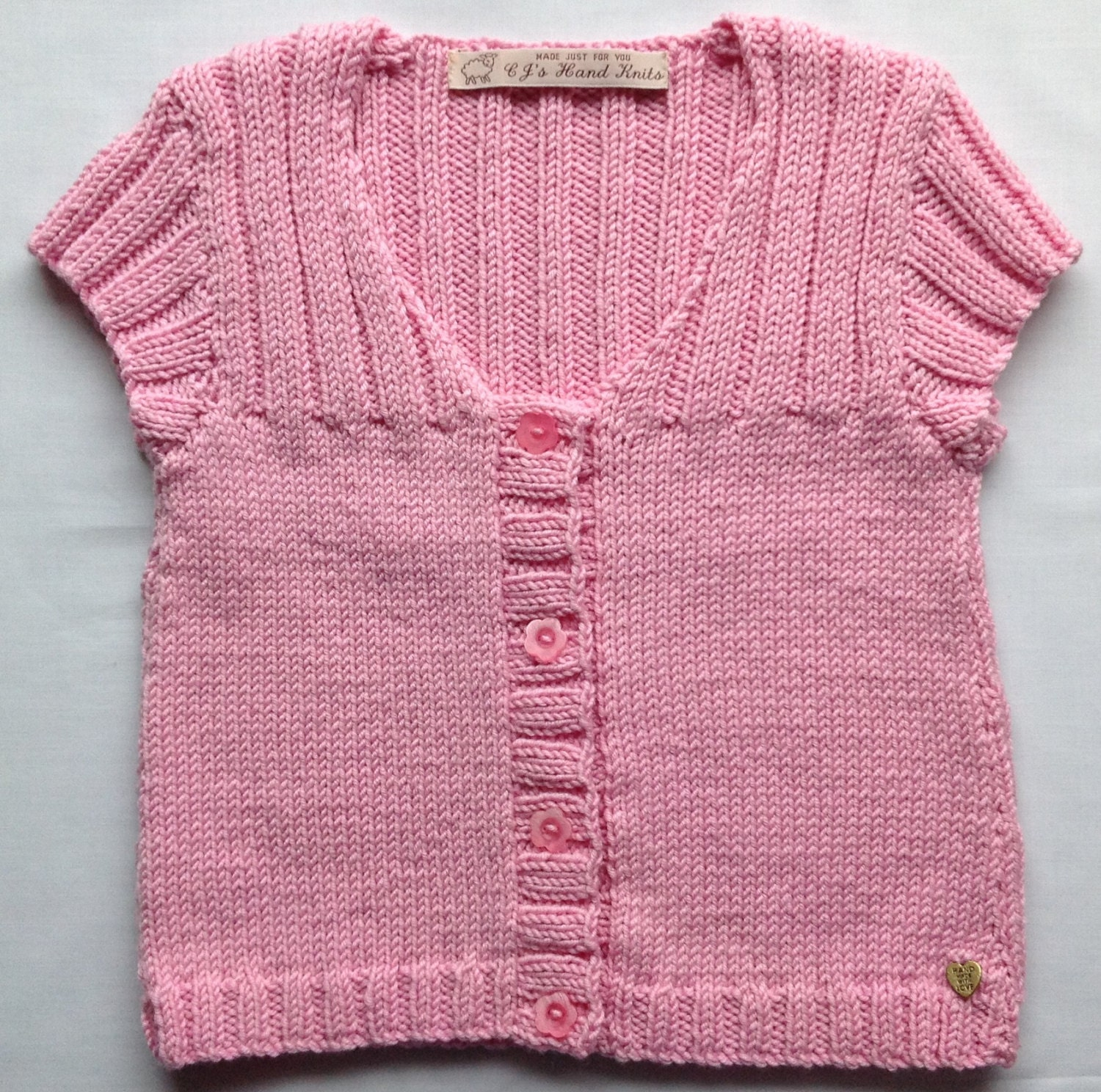 Toddler Girl Pink Sweater Hand Knitted Cardigan Girl Knitwear