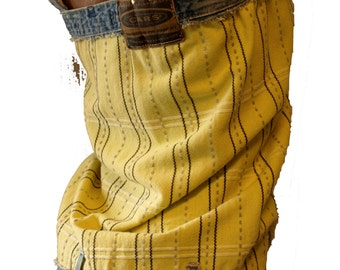 short summer jumpsuit of recycled Cars jeans and yellow vintage cloth