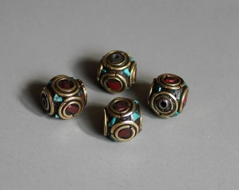 10pcs Nepal Tibetan Brass Bead With Turquoise Coral Inlay 10mm - A133