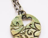Mint Green Printed ceramic pendant - PUZZLESTUDIO