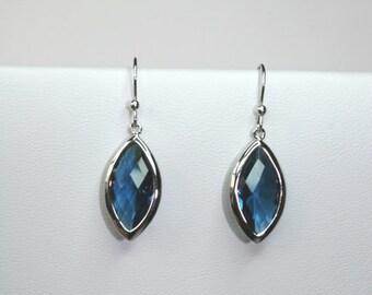 Blue marquis earrings