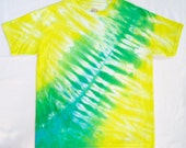 Tropical Breeze Tie Dye Shirt in Yellow, Green and Turquoise, Youth Size Large, Ready to Ship