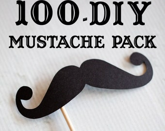 100 DIY Mustaches on Sticks // Mustache on a Stick // Wedding Photobooth Props