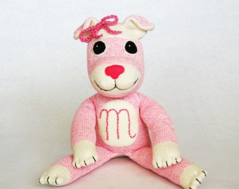 Stuffed pink dog Matilda the Pink Puppy Rockford Red Heel sock monkey inspired toy hand-sewn plushie gift for a girl baby shower present