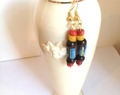 Multicolored beaded earrings, long beaded earrings, African beads, handmade jewelry