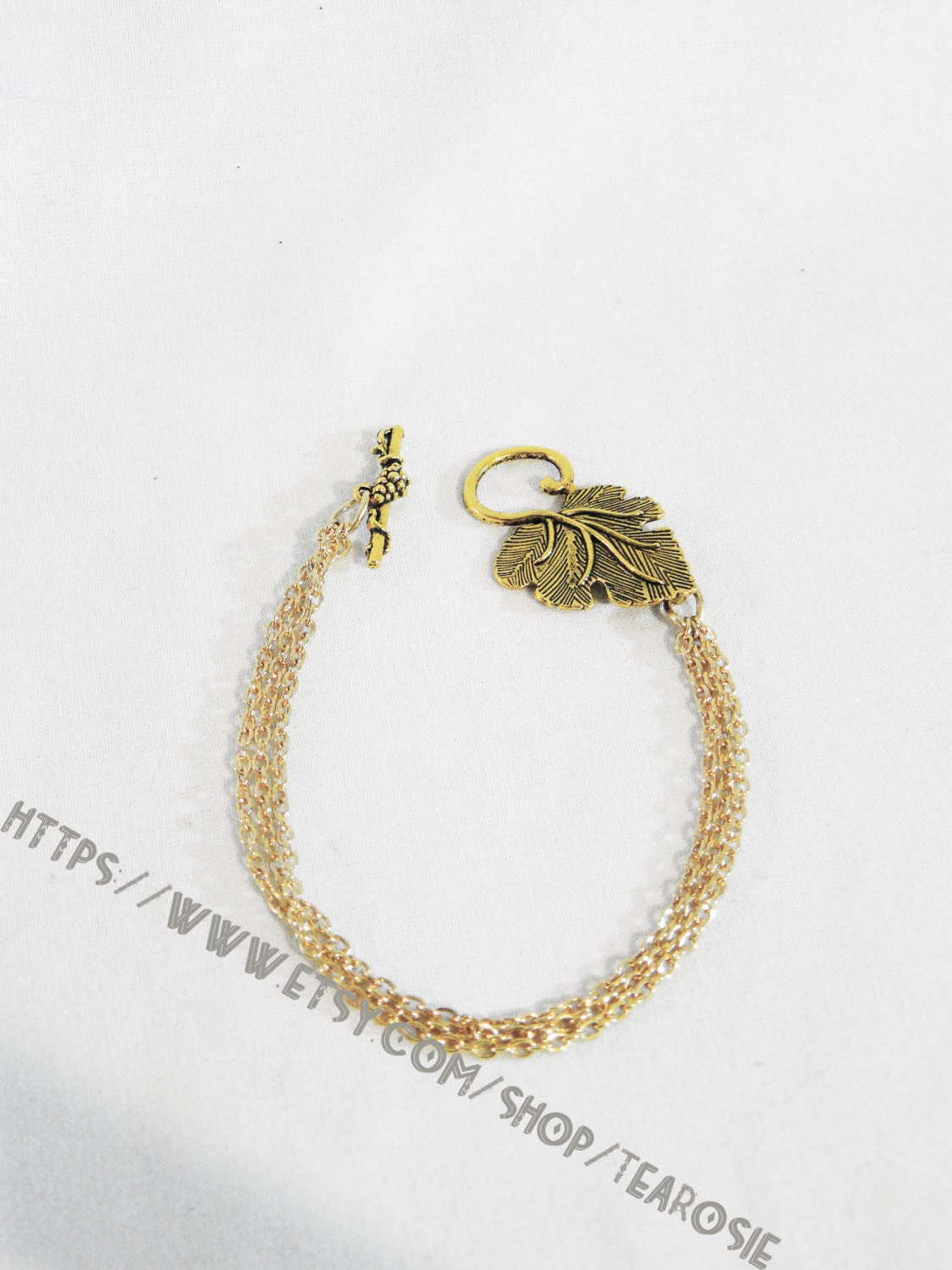 Delicate Handmade Three Tiered Gold Plated Chain Bracelet w/ Leaf and ...