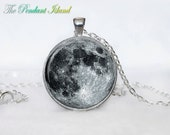 MOON NECKLACE Moon Pendant Galaxy Space Grey Moon Jewelry Necklace for men Art Gifts for Her(P11H01V02)
