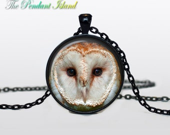 OWL PENDANT   owl necklace White owl Jewelry Necklace for him  Art Gifts for Her for menArt Gifts (P10005)