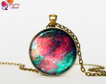 NEBULA Pendant  Nebula Necklace Galaxy necklace Space universe pendant Turquoise Jewelry Necklace for him  Art Gifts f