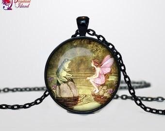 Fairy Pendant, Art Nouveau Fairy Necklace, Fairy Jewelry, Fairytale Jewelry, Vintage Fairies Fantasy necklace Folk pendant