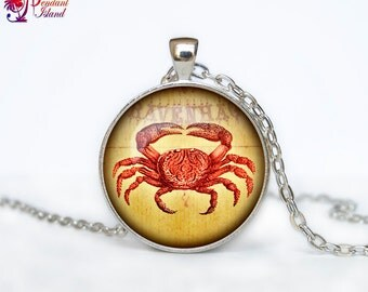 Crab pendant Crab jewelry Crab necklace vintage style Sea life jewelry