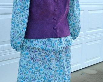 60's Vintage Peasant Dress/Purple Suede Flower Child Hippie dress/60's hippie dess